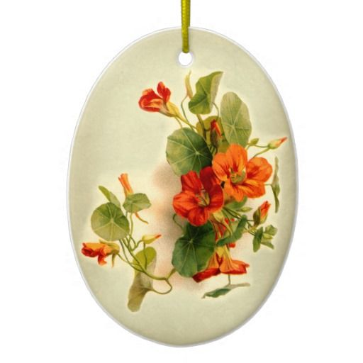 Orange Indian Cress Christmas Ornament. Motif taken from a vintage postcard