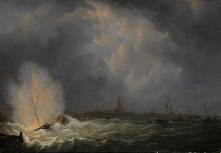 The Explosion of Gunboat nr 2, under Command of Jan van Speijk, off Antwerp, 5 February 1831, Martinus Schouman, 1832  oil on panel, h 53cm × w 76cm × d 6cm  The gleam/shine of the oil paint in this paining brings the explosion to life.  If the artist had used a duller paint, I think it would not feel as if you were actually there seeing the ship explode.