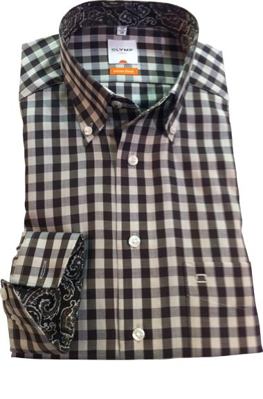 Een prachtig bruin wit geruite overhemd met een apart afgewerkte kraag http://hemdenonline.nl/item-overhemden-olymp-olymp-4374-64-28-1369p39_53.html Olymp 4374-64-28
