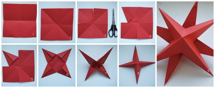 Stap voor stap uitleg 3D kerstster vouwen / Step-by-step instructions on how to fold a 3D paper star decoration for Christmas