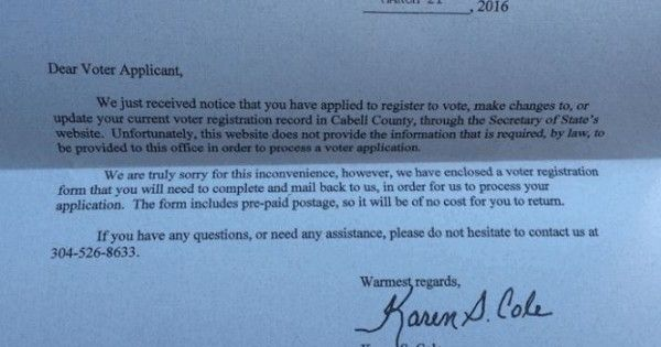 Two West Virginia County Clerks Are Refusing People's Online Voter Registrations.  It's time for the justice department to step in. Given how contentious the next elections will be and how Republicans seem to be going out of their way to allow people to vote, I strongly suspect that international oversight might be in order. The Republicans are turning the U.S. into a banana republic.