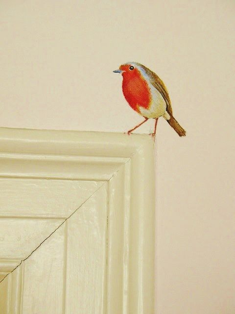 Randomly painted birds dotted around the home