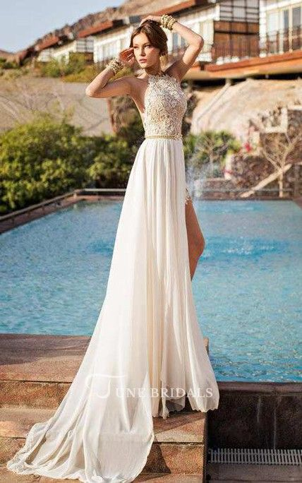 1c8c11ce117ea High Neck Sleeveless Lace Wedding Dress With Chiffon Skirt - June Bridals