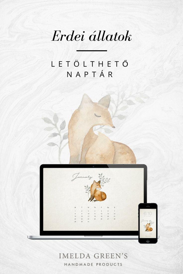 Forest animals - hand-painted watercolour wallpaper calendar