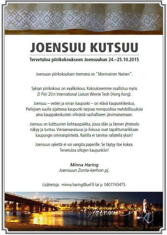 Zonta.fi - Jäsenille / Piirikokous Joensuu 24.-25.10.2015