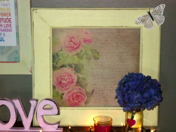 Old Pale Yellow Picture Frame with Vintage Inspired Paper.