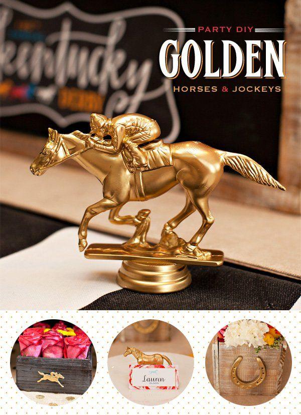 Kentucky derby diy golden horses and jockeys