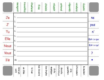 French Sentence Formation Practice Activity: Regular Verbs