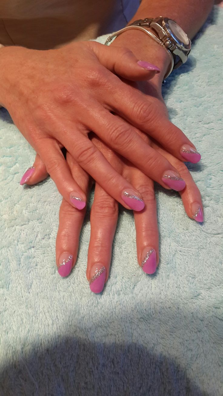 Pink and silver acrylic