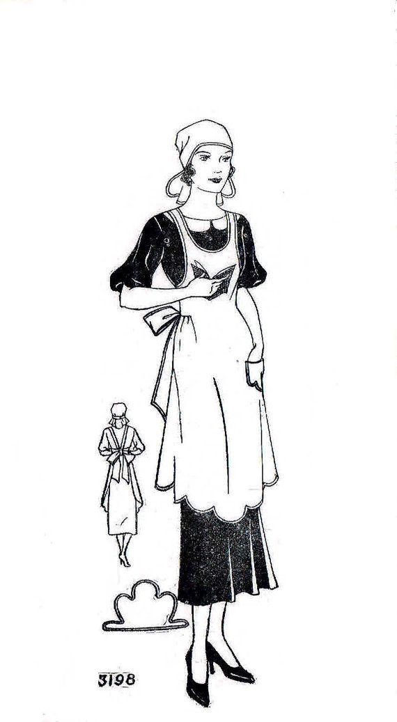 Vintage 1930s Maid Apron Pattern Unused Size Medium Mail