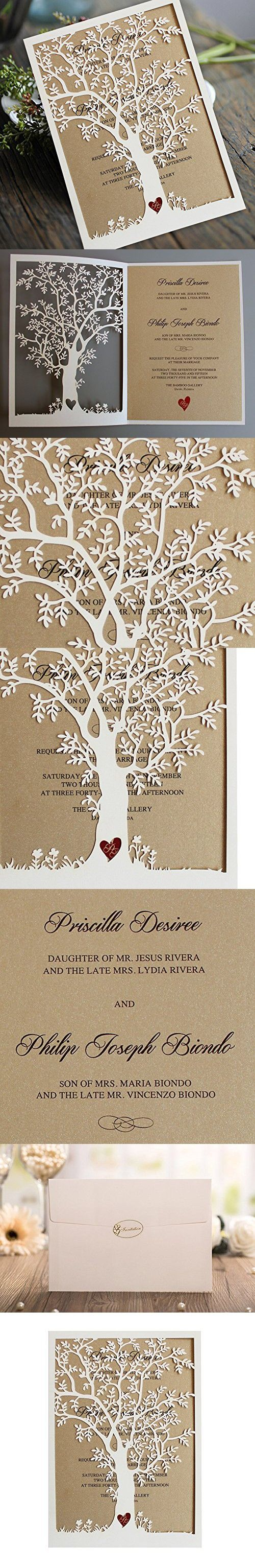 Laser Cut Tree Wedding Invitation, Fall Wedding Invitation Cards, Tree Wedding Invite, Rustic Wedding Invitations, Autumn Wedding Tree - Pack of 50
