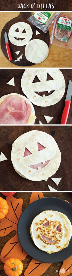 Simple, easy and kid friendly - try these Jack o'dillas - a fun Halloween quesadilla recipe!