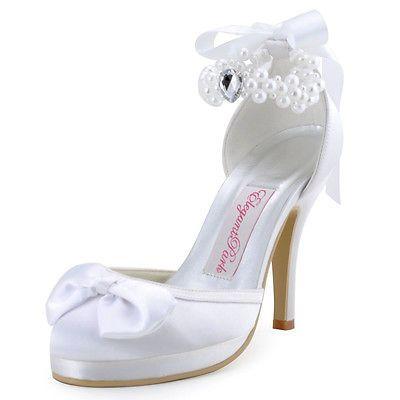 EP11074-PF Marfim fechar Toe Pérola Laço Fita Cetim salto alto sapatos de noiva Reino Unido 2-9