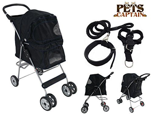 PetsCaptain Pet Stroller Cat & Dog Folding Travel Carrier Carriage with Leash, Harness, and Collar Bundle (4-Wheel, Black)  http://dogramp.org/product/petscaptain-pet-stroller-cat-dog-folding-travel-carrier-carriage-with-leash-harness-and-collar-bundle-4-wheel-black/
