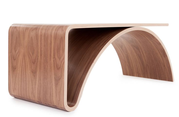 """Contemporary Table - Kaari in Finnish means """"arc"""" and clearly it's the perfect name for this table by Juhani Horelli. Initially inspired by the landscape of bridges, the form seemed to reveal itself through the Finnish and Scandinavian tradition of mold pressing veneer. Horelli uses traditional craft in a modern way to create new forms for contemporary living."""
