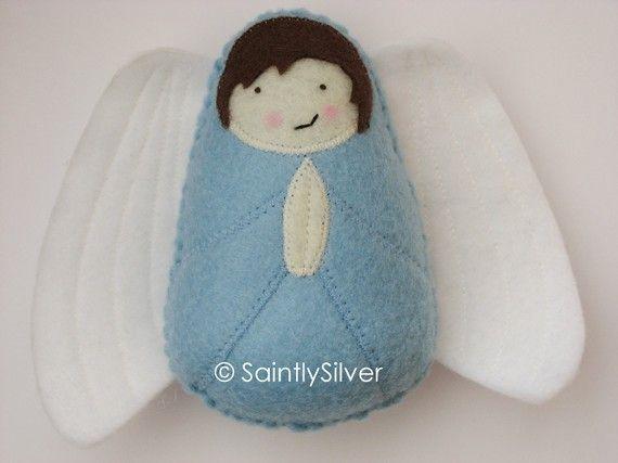 Boy Guardian Angel Felt Softie by SaintlySilver on Etsy