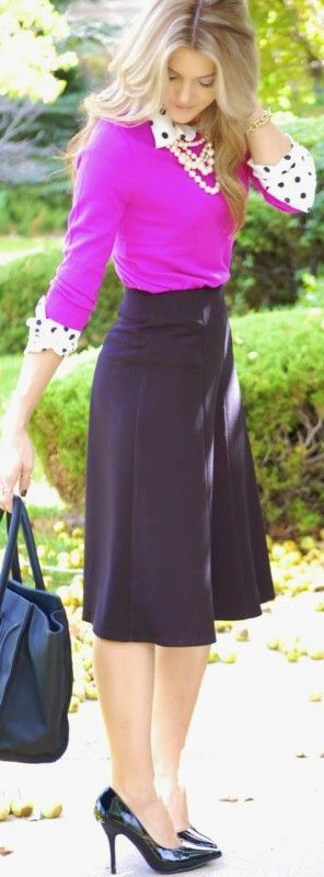 Working girl : 8 chic work outfits with skirts - Page 2 of 8 - women-outfits.com