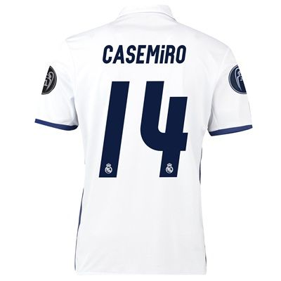 Image of Real Madrid Home UEFA Champions League Shirt 2016-17 with Casemiro 14