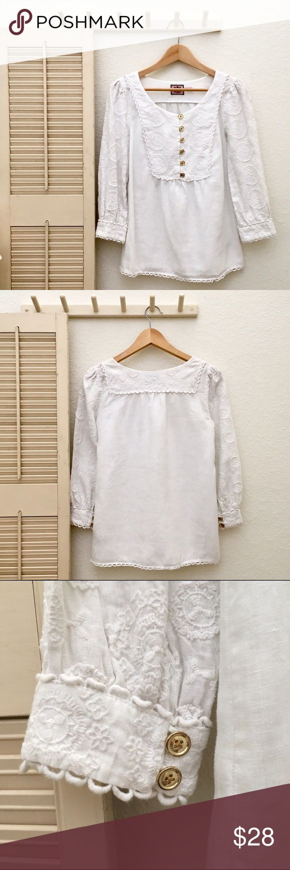 Juicy Couture Linen Smock Top with Embroidery Trim Details to be added soon... Juicy Couture Tops Tunics