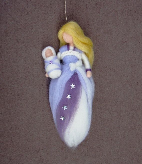 Guardian Angel MOTHER and BABY Needle Felted Wool Mobile Doll Fairy Soft Sculpture Waldorf Inspired