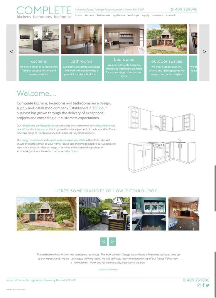 Website Design for Complete Kitchens in Holsworthy