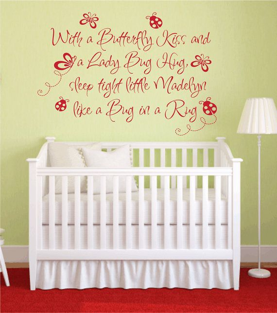 Butterfly kiss ladybug hug vinyl wall decal baby nursery for Baby girl nursery mural