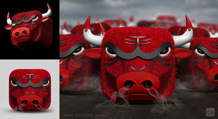 #Chicago #Bulls 3D #icon #iOS #illustration #basketball #bull #SeeRed