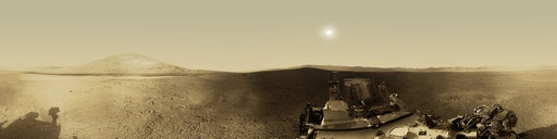 Mars Panorama - Curiosity rover: Martian solar day 2. You van drag the cursor for different views.