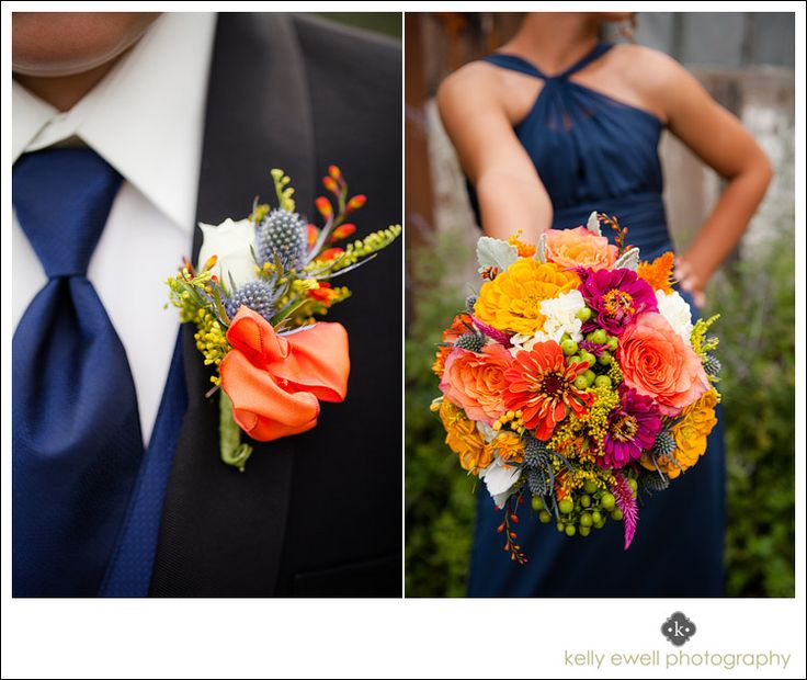 Bright color flowers from Holly Chapple Flowers for a summer orange and navy blue wedding at Thomas Birkby House in Leesburg Virginia