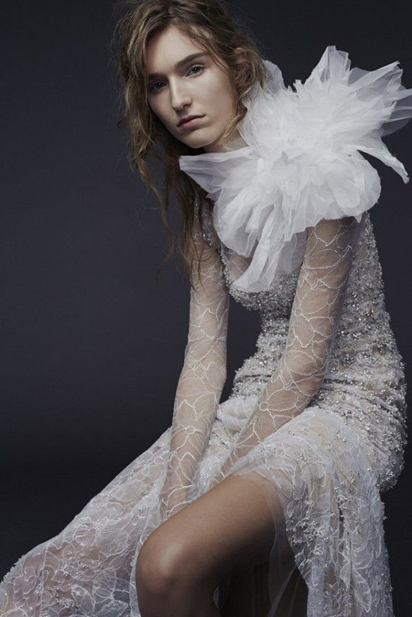 Sheer sleeve embellished wedding dress with tulle. // Vera Wang Bridal Fall 2015