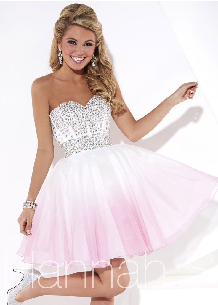 Homecoming Dresses - Strapless Pink Ombre Party Dress - RissyRoos.com