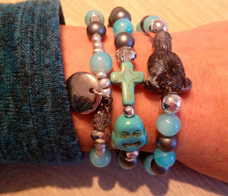 Grey and turquoise bracelet