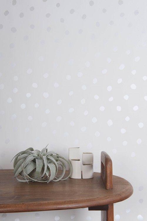 New Wallpaper from Juju Papers on Design*Sponge #wallpaper #juju #dots #silver #metallic