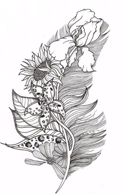 145 best Feathers + Leaves Coloring Pages for Adults ...