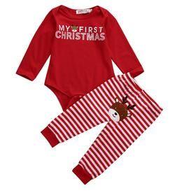 2Pcs/Set ! Christmas Newborn Baby Boy Girl Clothes Long Sleeve Cotton Romper + Deer Pants Outfit Xmas baby boy girl clothing set