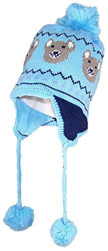 "For Kids on a Cold Day, This Best Winter Hats Kid/Toddler Bears Design Fleece Lined Ear Flap Hat With Pom Pom on Top and At The End Of Straps Hanging From Ear Flaps. Fleece Lining Inside Covers Head, Is Not On The Inner Part of The Ear Flaps. Best Fits Head Circumferences up to 20 1/2""..."