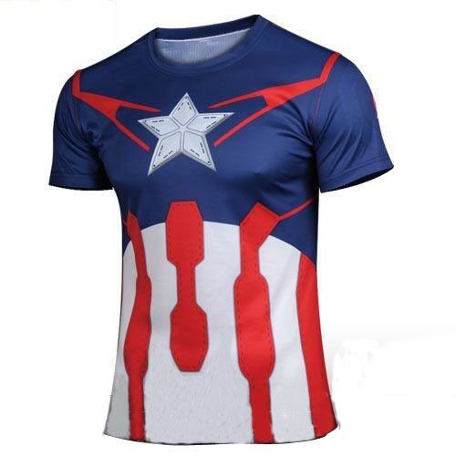 3D Captain America Digital Printing Sport T-shirt