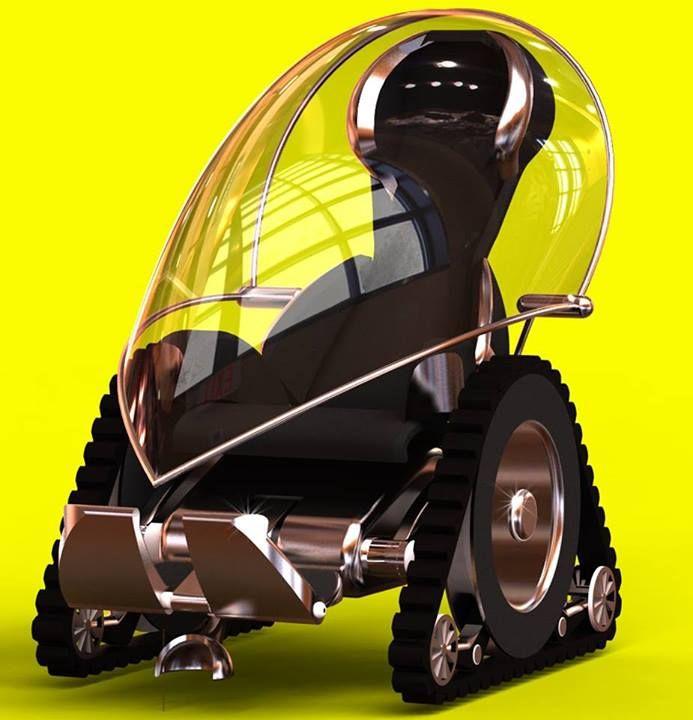 Fauteuil roulant électrique, tout terrain, design, profilé, avec toit transparent