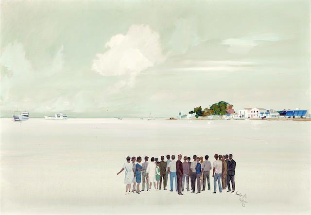 Spyros Vassiliou (Greek, 1902-1984) Gathering in Eretria 81 x 116 cm.