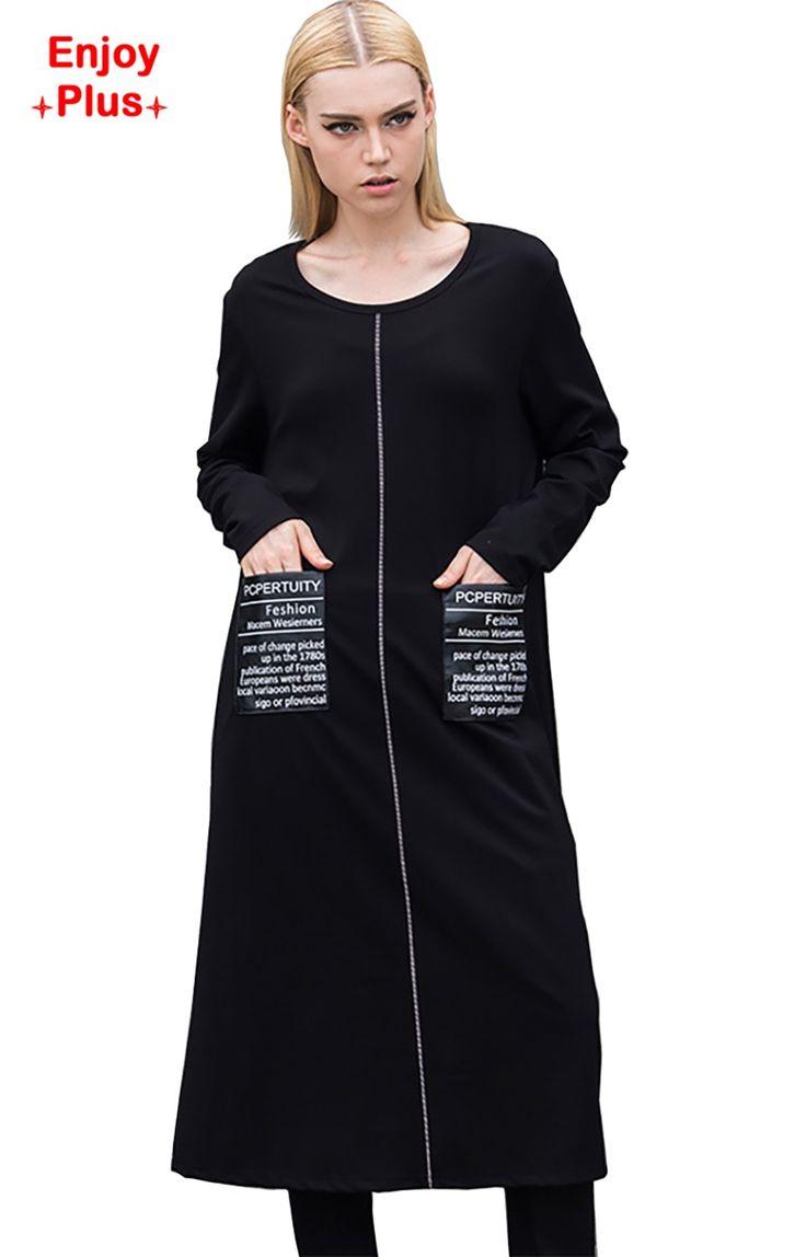 Купить товарНАСЛАЖДАТЬСЯ ПЛЮС 7% ОТ груди 102 120 см XL 5XL осень 2016 черный хлопок футболка с длинным рукавом платье женщины плюс размер casaul большой карман в категории  на AliExpress. грудь 102-120 см XL-5XL новый осень 2016 черный хлопка с длинным футболка платье женщины с длинным рукавом плюс размер c