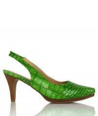 Naughty - Women's gloss crocodile vivid apple green wood-grain mid heels $99.00 #shoeenvy #shoes #fashion #instalove #pretty #ethical #glamorous