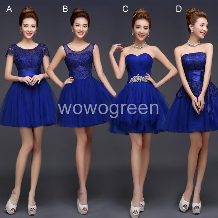 Blue Women Formal Evening Party Ball Wedding Bridesmaid Gown Lace Short Dress