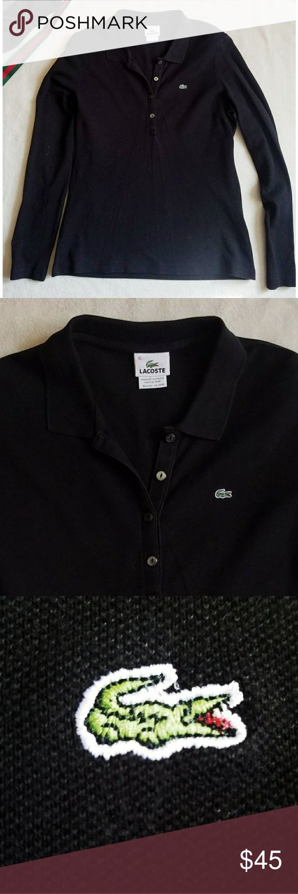 Lacoste long sleeve black polo Lacoste long sleeve black polo, Tag states size 46 which is equivalent to a XXL, Measurements are APPROXIMATE in inches: Bust 19 flat, length 27. *My items are NOT from a smoke free home* Lacoste Tops