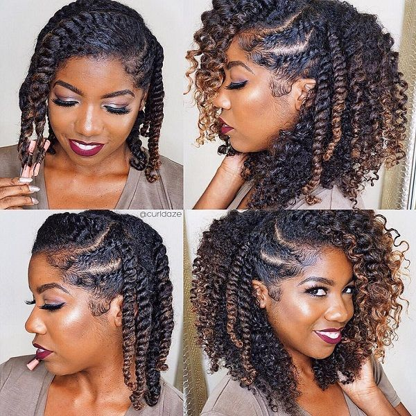 ombre natural protective hairstyle loose strand twist & twistouts