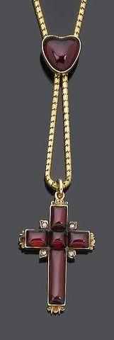 Gold & Garnet Pendant/Necklace  --  Circa 1840