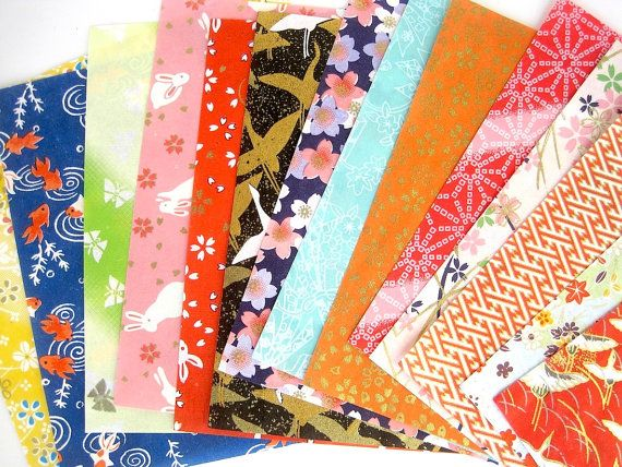 Washi Origami paper pack, Yuzen japanese paper, washi paper, chiyogami scrapbook paper, sheets, colorful variety patterns, craft supplies
