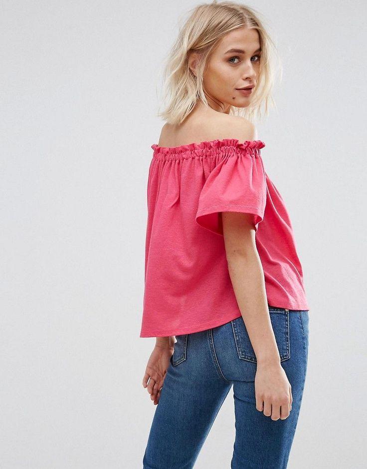New Look Shirred Bardot Top - Pink
