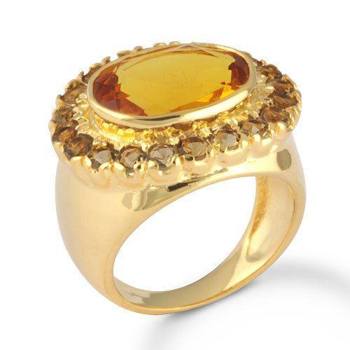Brass Alloy Jewelry Citrine Hydro Quartz Gemstone Ring Gold Overlay SZ 6 #Rinnga