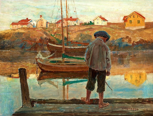 Carl Wilhelmson (1866-1928):  Boy at the Bridge
