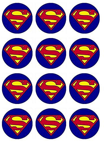 Amazon.com: 12 EDIBLE Superman Cupcake Toppers- superman cupcakes, superman Birthday Party. These are edible!: Kitchen & Dining